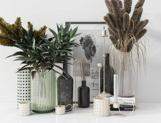 摆件组合, 花瓶, 装饰画