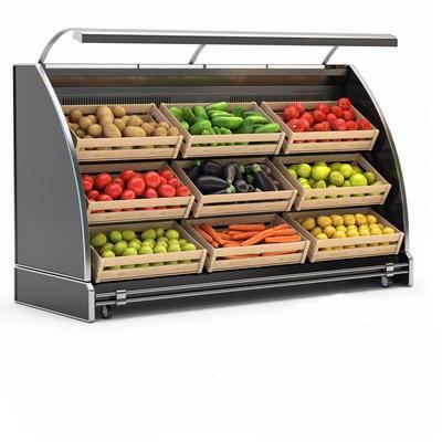 现代, 超市, 货架, 果蔬架, 冰柜
