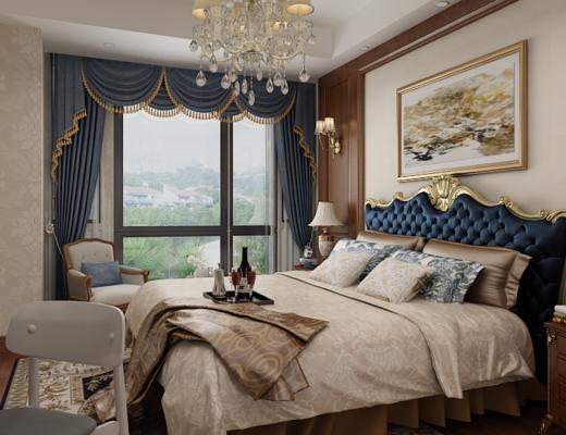 卧室, 双人床, 吊灯, 装饰画, 挂画, ?#39184;?#26588;, 台灯, 壁灯, 单人沙发, 单人椅, 欧式