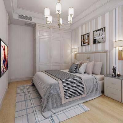 卧室, 现代, 简欧, 床, 吊灯, 床头柜, 壁灯, 电视, 现代卧室, 简欧卧室, 双十一