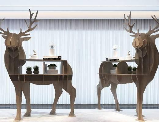 陈设品组合, 陈设品, 鹿, 置物架, 书架, 盆栽