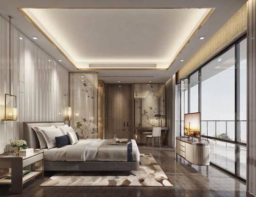 中式卧室, 主卧, 床, 床边柜, 装饰柜, 书桌椅