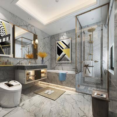 卫生间, 洗手台, 浴缸, 马桶, 装饰画, 挂画, 花洒, 壁灯, 现代