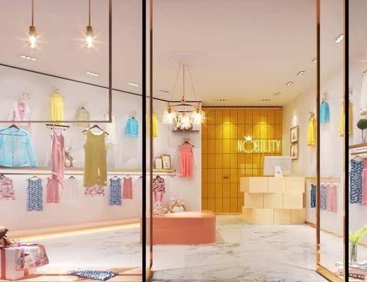 现代儿童服装店, 现代, 服装店, 衣架, 吊灯, 收银台
