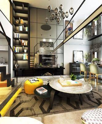 現代客廳, loft客廳, 沙發茶幾組合, 餐桌椅組合