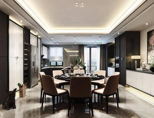 现代餐厅, 餐厅, 餐桌椅, 厨房, 橱柜
