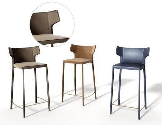 现代皮革吧椅