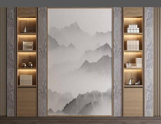中式背景墻, 書架