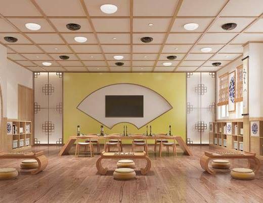 教室, 幼儿园, 茶桌, 单人椅, 凳子, 装饰柜, 书柜, 脚踏沙发, 摆件, 装饰品, 陈设品, 书籍, 国学教室, 新中式