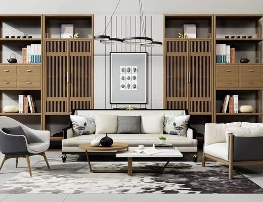沙发组合, 吊灯, 书柜, 中式, 新中式, 单人沙发, 茶几, 多人沙发, 置物柜, 装饰柜, 装饰画, 挂画, 地毯