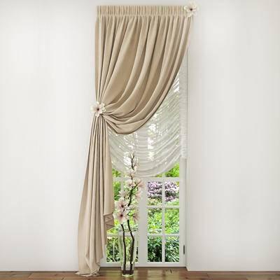 窗帘, 花瓶, 窗户