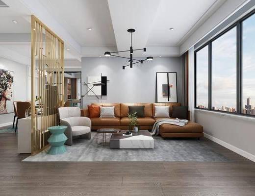 現代, 客廳, 桌椅組合, 沙發組合, 餐廳