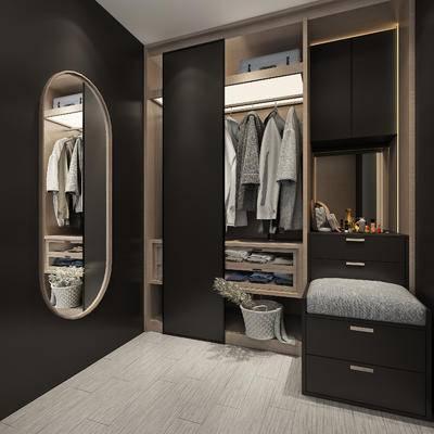 现代, 衣帽间, 镜子, 服饰