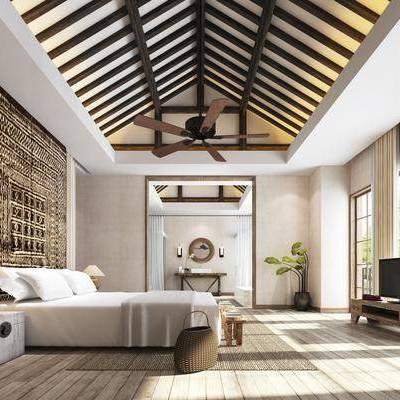 卧室, 双人床, 床头柜, 台灯, 电视柜, 边柜, 绿植, 植物, 装饰镜, 风扇, 现代