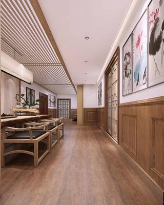 新中式, 活动中心, 茶艺室, 桌椅组合