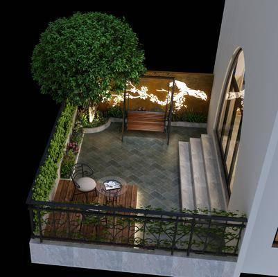 露天阳台, 花园庭院, 吊椅, 单人椅, 茶几, 树木, 绿植植物, 花卉, 现代