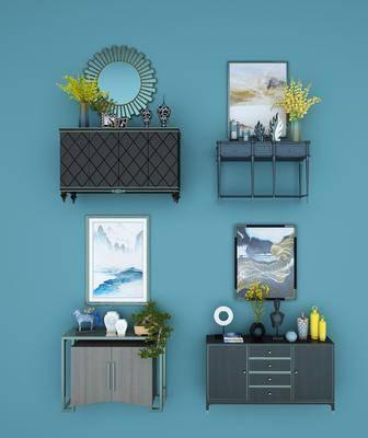 装饰柜, 边柜, 玄关柜, 摆件, 挂画, 装饰画, 花瓶, 花卉, 瓷器, 装饰品, 现代