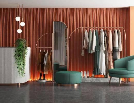 衣架, 服饰, 单椅, 全身镜, 吊灯, 前台