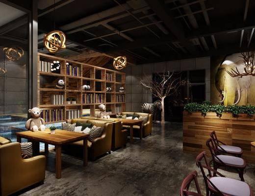 咖啡馆, 双人沙发, 多人沙发, 茶几, 绿植植物, 单人椅, 卡座, 装饰柜, 吊灯, 摆件, 装饰品, 陈设品, 干树枝, 现代