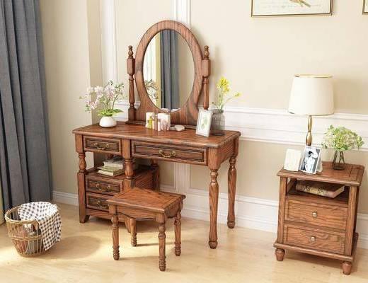 梳妆台, 凳子, 台灯, 装饰镜, 床头柜, 美式