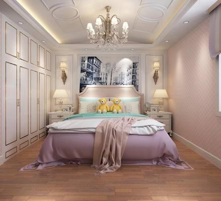 欧式风格, 女儿房, 卧室, 双人床, 灯具