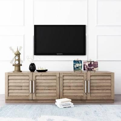 电视柜, 工业风电视柜, 摆件, 边柜, 瓷器, 装饰品