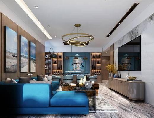 现代客厅, 现代, 现代餐厅, 现代入户玄关, 现代装饰画, 沙发, 餐桌椅