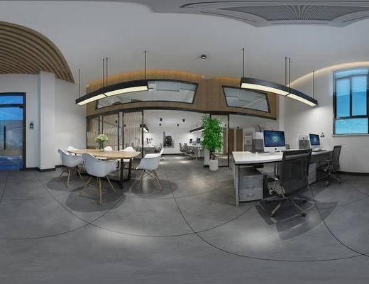 现代办公室, 办公室, 办公桌, 办公椅, 绿植, 吊灯, 全景模型