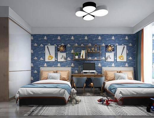 儿童房, 北欧儿童房, 床具组合, 单人床, 置物架, 摆件, 北欧