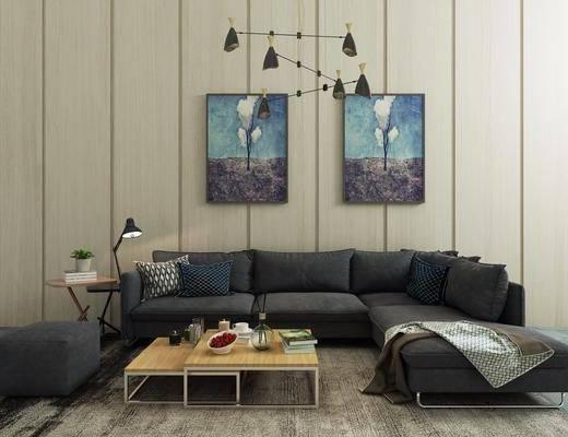 沙发, 单人沙发, 单椅, 茶几, 边几, 吊灯, 挂画, 装饰画, 沙发凳, 摆件, 装饰品, 圆几, 植物, 盆栽, 台灯, 地毯, 转角沙发, 现代, 简约
