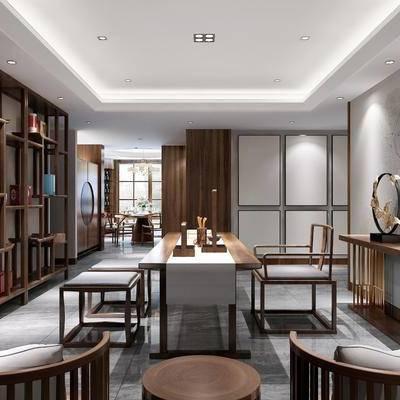 桌子, 茶桌, 椅子, 单人椅, 边柜, 摆件, 装饰柜, 单人沙发, 装饰品, 陈设品, 中式