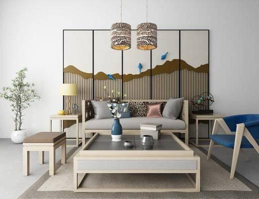 新中式, 沙发组合, 摆件, 灯具