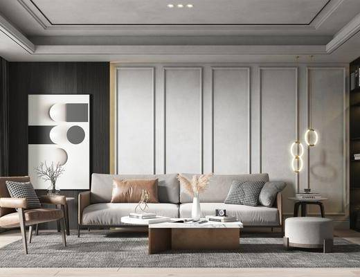 沙发组合, 茶几, 摆件组合, 吊灯, 单椅, 装饰画, 花瓶