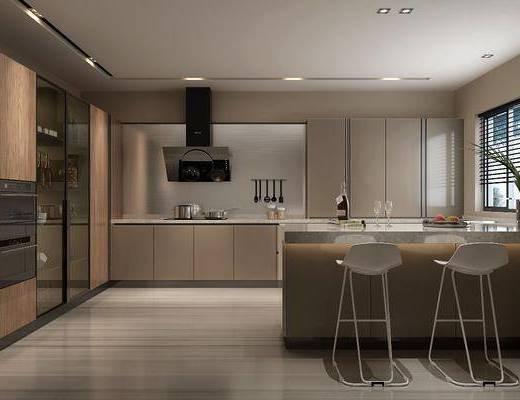 厨房, 橱柜, 厨具, ?#21830;? 吧椅, 单人椅, 酒柜, 酒瓶, 摆件, 装饰品, 陈设品, 现代