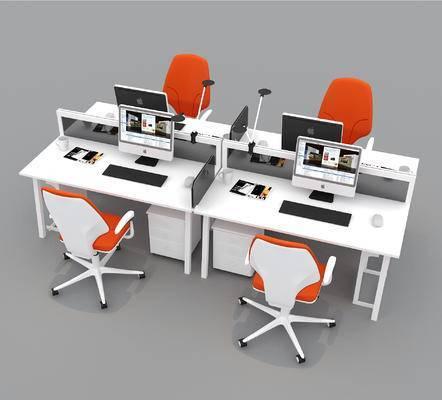 办公桌, 办公椅, 办公桌椅, 现代, 电脑