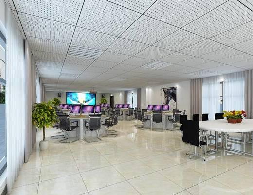 现代办公室, 植物, 办公桌, 办公椅, 电脑, 显示屏, 摄影棚