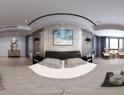 现代主卧, 卧室, 全景模型, 床, 装饰柜, 挂画