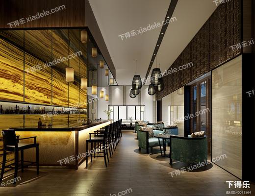 中式, 酒吧, 吧台, 吧桌椅, 吊灯