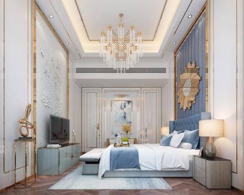卧室, 双人床, 床头柜, 台灯, 墙饰, 吊灯, 电视柜, 边柜, 装饰架, 摆件, 装饰品, 陈设品, 欧式