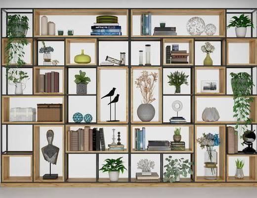 书架, 书柜, 装饰柜, 摆件, 装饰品, 陈设品, 工业风