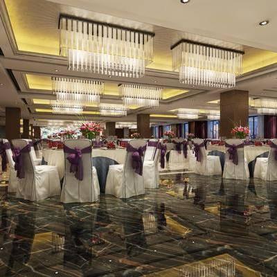 宴会厅, 餐桌, 餐椅, 摆件, 装饰品, 陈设品, 简欧
