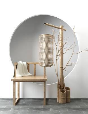 落地灯, 单椅, 椅子, 新中式, 中式, 禅意