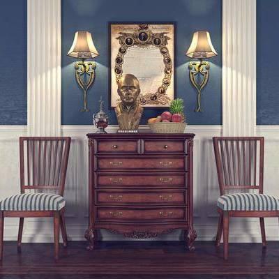 边柜, 单人椅, 壁灯, 挂画, 装饰画, 摆件, 美式, 双十一