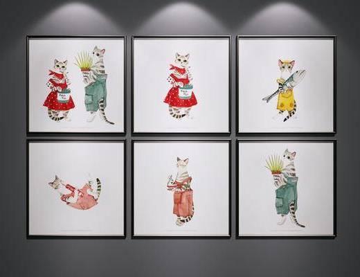 挂画, 卡通装饰画, 猫咪装饰画, 装饰画组合