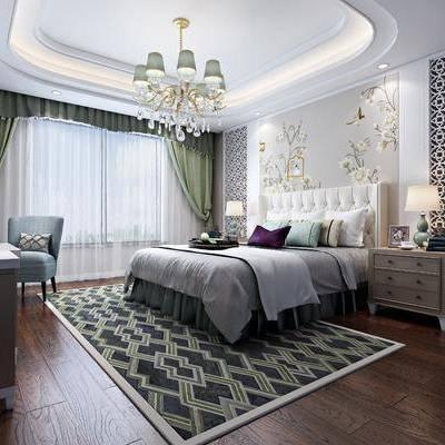 卧室, 双人床, 床头柜, 吊灯, 台灯, 边柜, 单人沙发, 电视柜, 摆件, 装饰品, 陈设品, 欧式