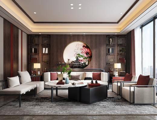 沙发组合, 多人沙发, 边几, 台灯, 单人沙发, 茶几, 圆框画, 装饰画, 挂画, 装饰架, 摆件, 装饰品, 陈设品, 新中式