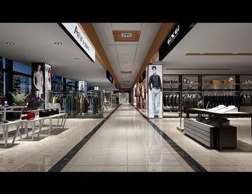 商场, 服装店, 服饰, 模特, 出现, 现代