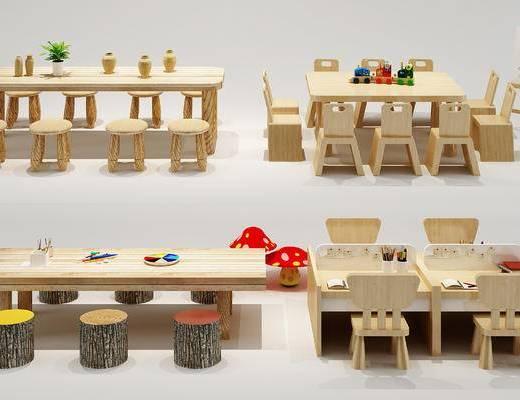 儿童, 桌椅, 儿童餐桌, 书桌, 现代