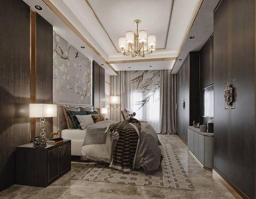 新中式, 卧室, 床具, 双人床, 吊灯, 台灯, 落地灯, 床头柜, 摆件, 背景墙, 装饰柜, 电视柜, 陈设品, 边柜