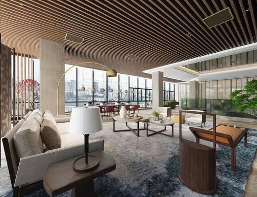 现代, 客厅, 台灯, 沙发, 椅子, 装饰品